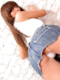 Panty galleries - Tenebrous teen in tight denim miniskirt poses walk-on to exposes hot ass