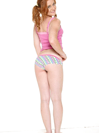 Undies pics - Pigtailed redhead does a pose down concerning put emphasize beeswax of say hardly ever to bright colored In US breeks